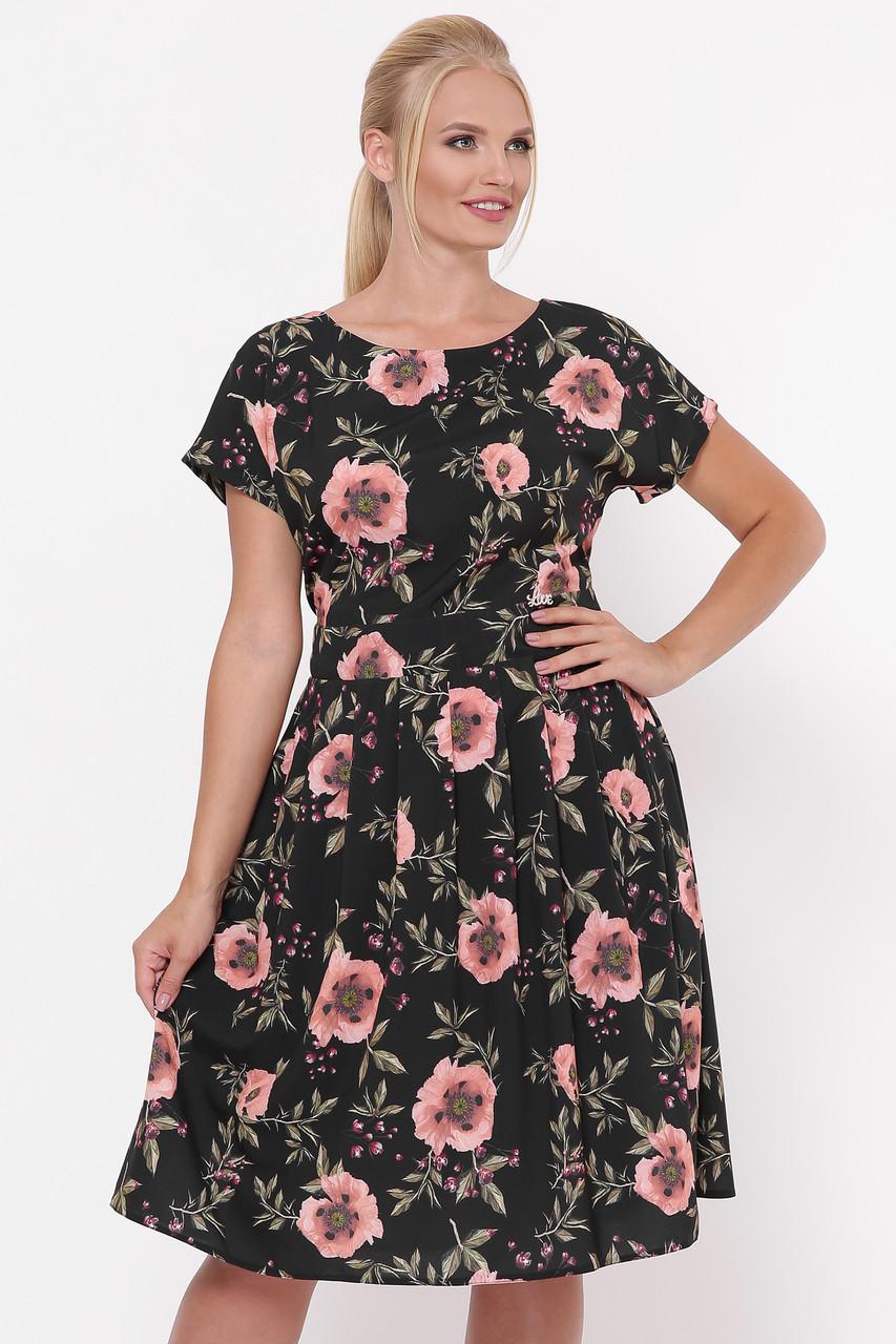 Платье летнее Лорен черное маки