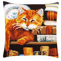 """PN-0163873 Набор для вышивания крестом (подушка) Vervaco Cat and Books """"Кот и книги"""""""