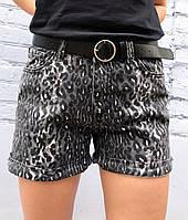 Шорты женские джинсовые черные (лео)