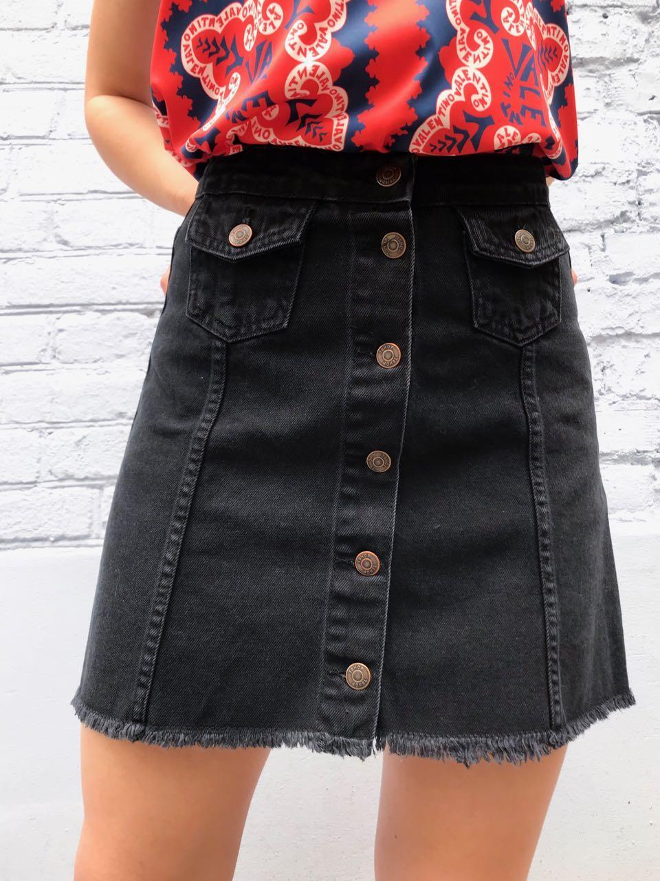 Юбка джинсовая трапеция черная на пуговицах