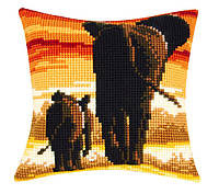 """PN-0162254 Набор для вышивания крестом (подушка) Vervaco Elephants """"Слоны"""""""