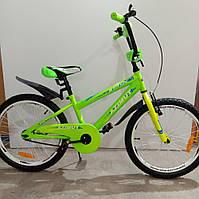 """Велосипед 18"""" дюймов 2-х колесный , салатов, ручной тормоз, доп.колеса"""