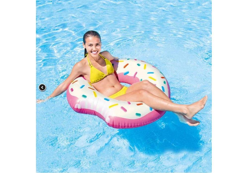 Надувной круг Пончик Надкусанный, 107см ( яркий круг Донат для плаванья )