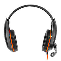 Наушники Gemix W-330 Gaming Black/Orange, 2 x Mini jack (3.5 мм), накладные, кабель 2.4 м, фото 2