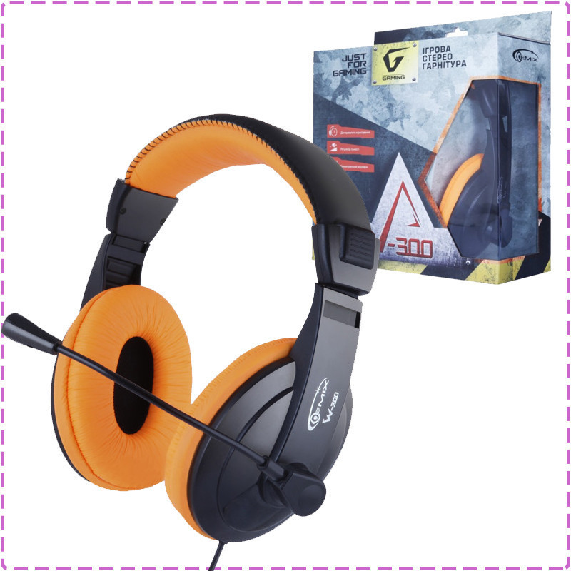 Игровые наушники с микрофоном Gemix W-300 Black/Orange, игровая гарнитура