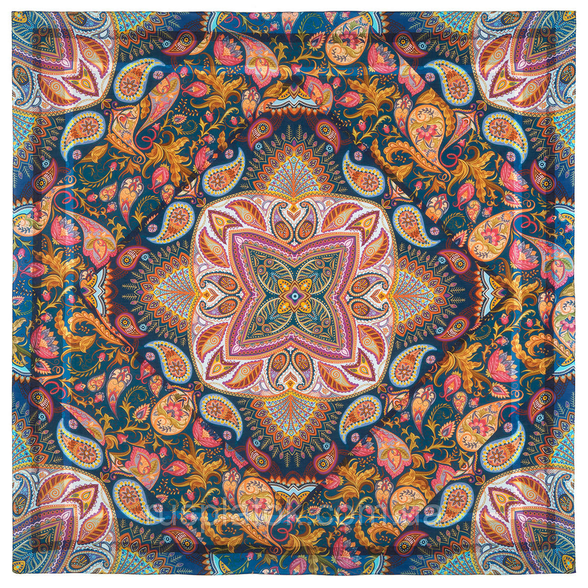 10476-14, павлопосадский платок из вискозы с подрубкой