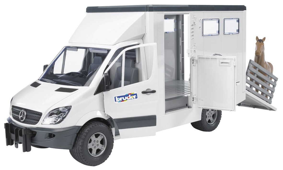 Транспортер для животных Bruder МВ Sprinter с лошадкой М1:16 (02533)