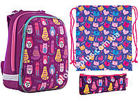 """Набор: рюкзак ортопедический + сумка для обуви + пенал «1 Вересня» """"Cute cats"""" H-12, 556024-1, фото 1"""