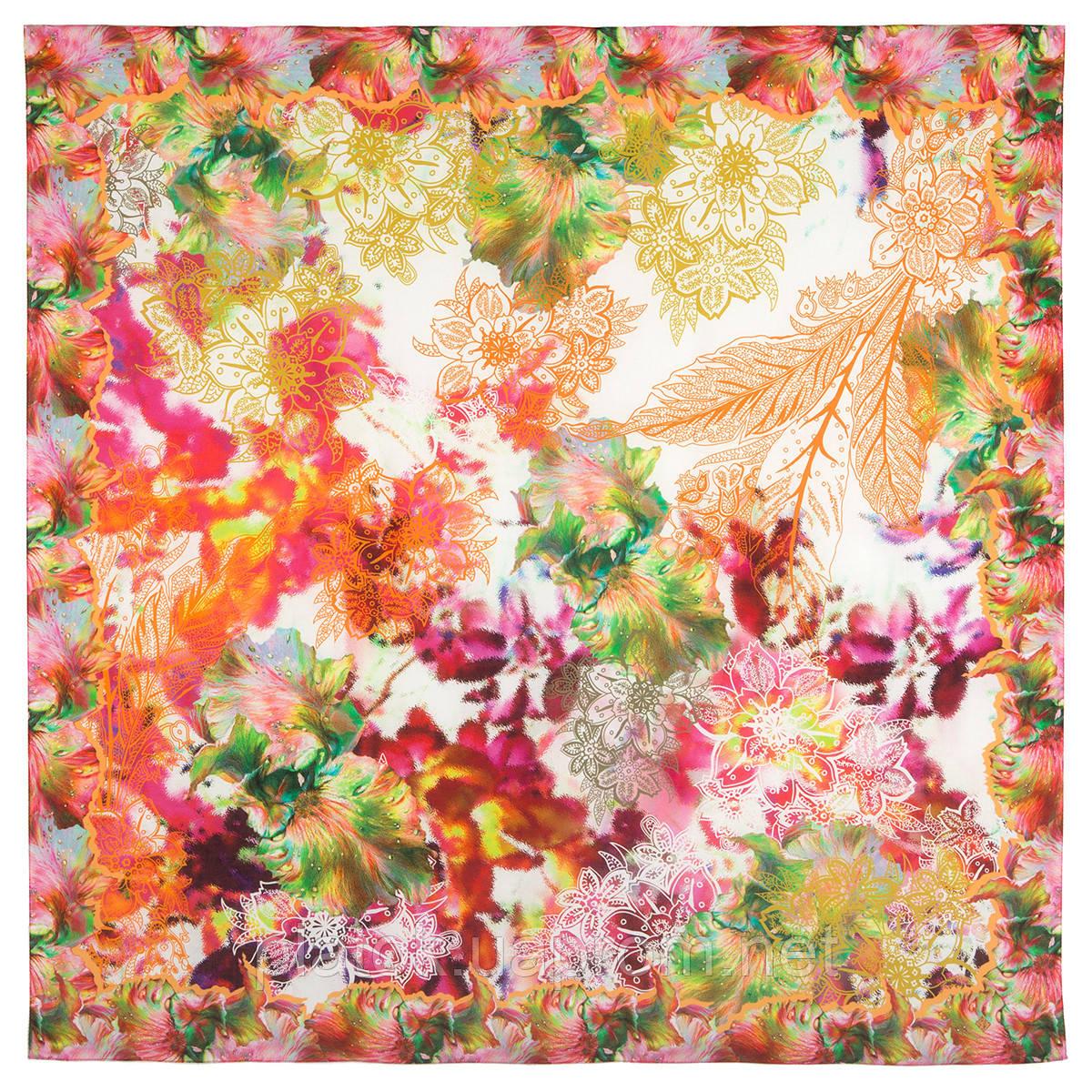 10523-2, павлопосадский платок из вискозы с подрубкой