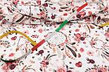 """Хлопок с цифровой печатью """"Ловцы снов и коричнево-бордовые розы"""" на белом № 2275, фото 4"""