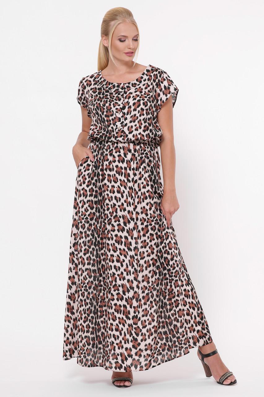 Длинное женское платье  Влада  леопард светлый