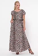 Длинное женское платье  Влада  леопард светлый, фото 1