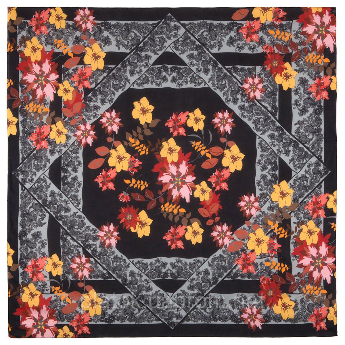 10590-18, павлопосадский платок из вискозы с подрубкой