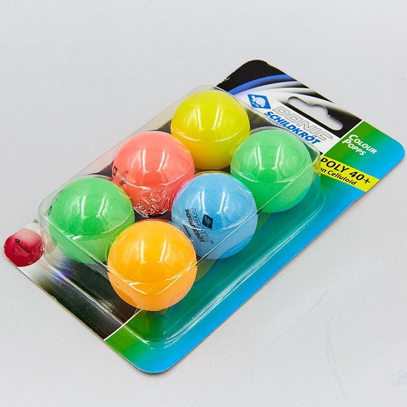 Кулі для настільного тенісу 6 штук DONIC MT-649015 COLOR POPPS