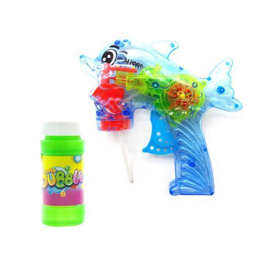 """Пистолет с подсветкой, пускающий пузыри """"Дельфин"""" (голубой) 3F-8 sco"""