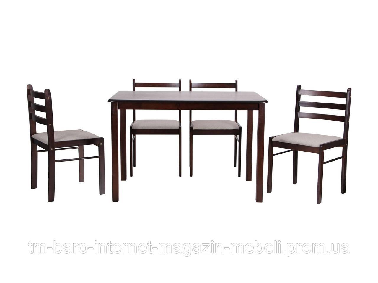 Комплект обеденный Брауни (стол+4 стула) темный шоколад/латте