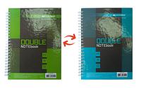 Записная книга А5 buromax bm.24571101-25 коричневый double на пружине на 96 листов в клетку