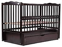 622006 Кровать Babyroom Веселка маятник, ящик, откидной бок DVMYO-3  бук венге