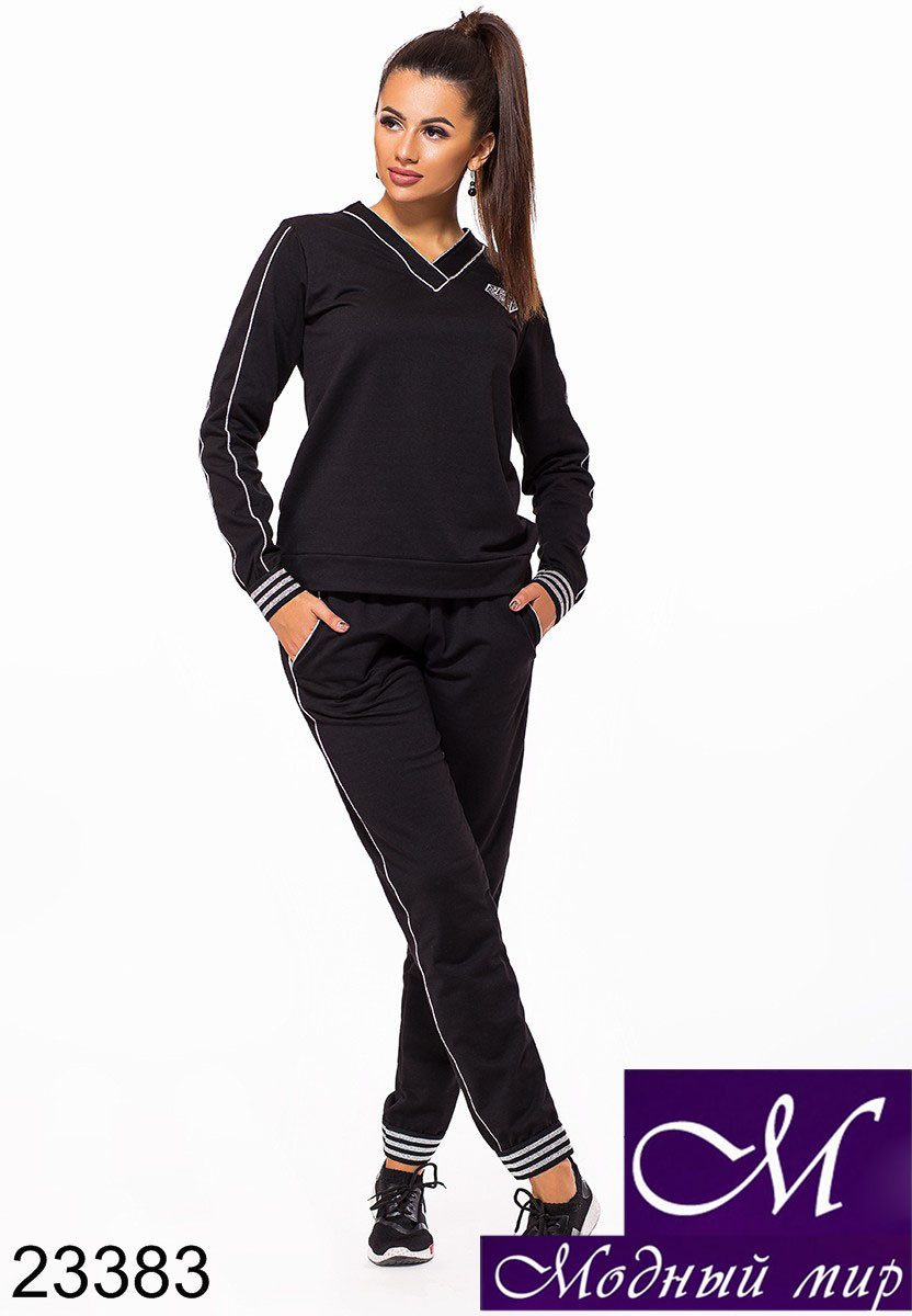 Женский черный трикотажный спортивный костюм (р. 42-44, 44-46) арт. 23383