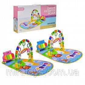 Детский развивающий коврик для младенца HE0612, HE0613 Веселый Бегемотик с пианино, розовый, синий