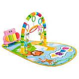 Детский развивающий коврик для младенца HE0612, HE0613 Веселый Бегемотик с пианино, розовый, синий, фото 2