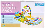 Детский развивающий коврик для младенца HE0612, HE0613 Веселый Бегемотик с пианино, розовый, синий, фото 4