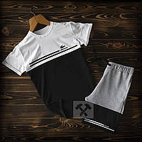 Летний спортивный костюм Lacoste черно-серого цвета (Лакост) шорты и футболка