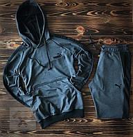 Темно-серый спортивный костюм Puma (Пума) с лампасами. Цвет антрацит  / Весна-осень
