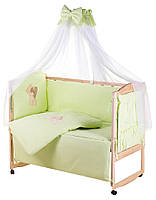 60351 Детская постель Qvatro Gold AG-08 аппликация  салатовый (мишка стоит с сердцем), фото 1
