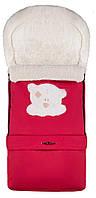 622822 Зимний конверт Qvatro №20 с удлинением  красный (мордочка мишки штопаная)