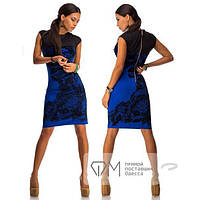 Платье приталенное, с напылением флок, цвет электрик, р. М(44) код 1650М