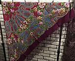 Река любви 1773-15, павлопосадский платок шерстяной (двуниточная шерсть) с шелковой вязаной бахромой, фото 4