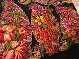 Галина 258-18, павлопосадский платок (шаль) из уплотненной шерсти с шелковой вязанной бахромой, фото 3