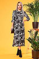 Платье-рубашка с вырезами пальмы на черном