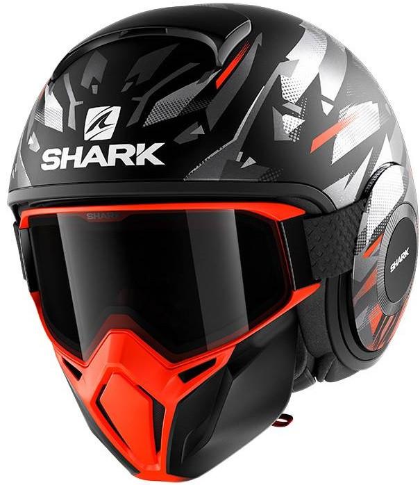 Шлем Shark Street Drak Kanhji матовый черный/оранжевый/серебряный, S