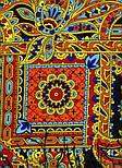 Печатный пряник 356-18, павлопосадский платок (шаль) из уплотненной шерсти с шелковой вязанной бахромой, фото 9
