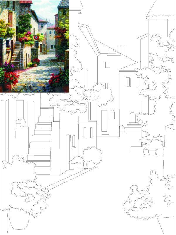 Холст на картоне с контуром, Пейзаж № 1, 30*40, хлопок, акрил, ROSA START