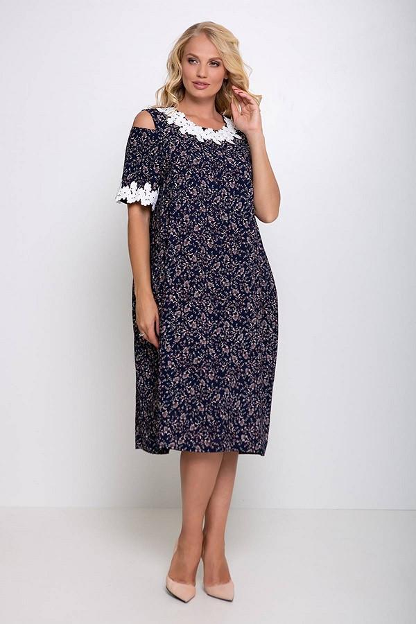 Платье с кружевом ришелье принт листики Шарлотта темно-синее (54-60)