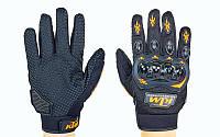 Мотоперчатки текстильные с закрытыми пальцами и протектором KTM  (р-р M-XL, черный)