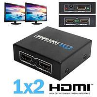 Сплиттер телевизионный 4K HDMI 1x2 порта. HDMI разветвитель, Сплитер с блоком питания.Hdmi splitter