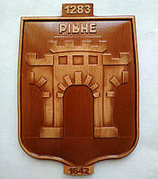 Резной деревянный герб Ровного 200х280х18 мм