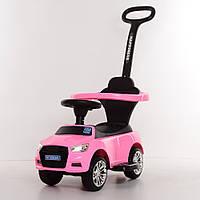 Детская машина каталка-толокар Audi 2в1 с бампером и родительской ручкой, Bambi M 3503A-8 розовый