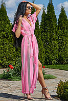 Женская пляжная туника, розовая, роскошная, элегантная, длинная, в пол