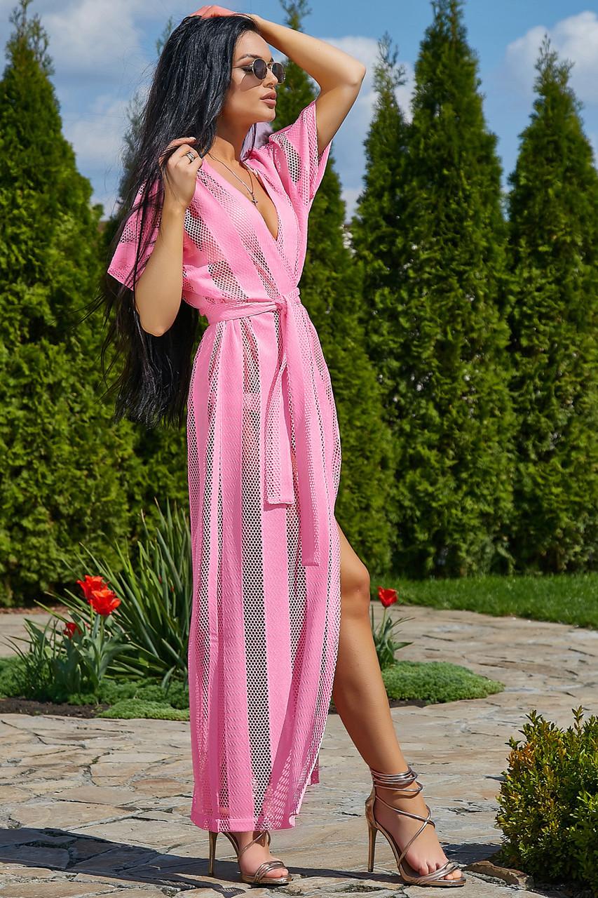 e02337e2880dd29 Женская пляжная туника, розовая, роскошная, элегантная, длинная, в пол -  Интернет