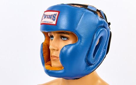 Шлем боксерский с полной защитой кожаный TWIN VL-6630-B ( р  L)