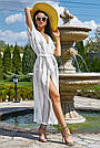 Женская пляжная туника, белая, роскошная, элегантная, длинная, в пол, фото 3