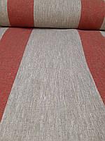 Льняная плотная ткань с красными полосками (шир. 50 см), фото 1