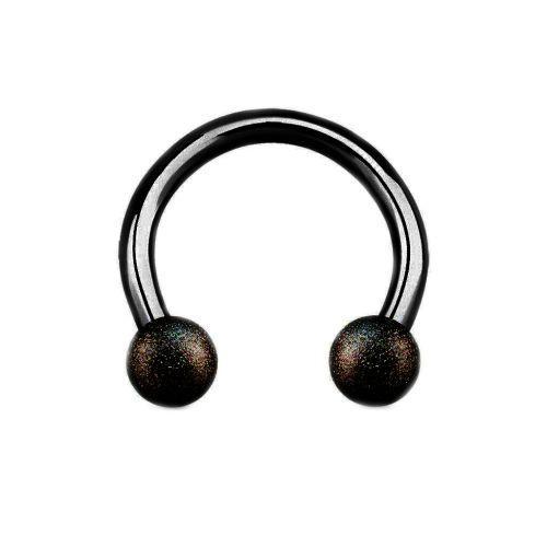 Полукольцо из стали черное с напылением на шариках 165092