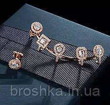 Серьги каффы асимметрия в розовой позолоте с камнями, фото 2