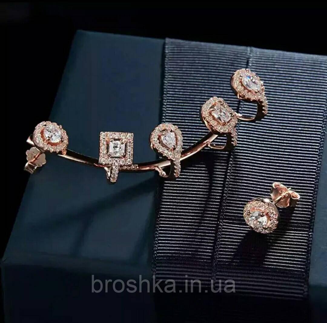 Серьги каффы асимметрия в розовой позолоте с камнями